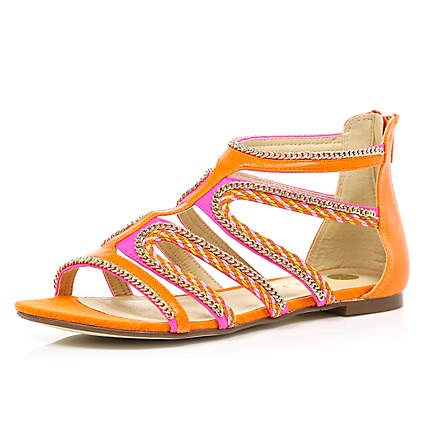 orange beaded sandals - sandals - shoes / boots - women - River Island
