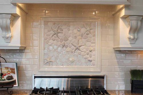 Beach tiles custom backsplash beachy pinterest for Custom mural tiles