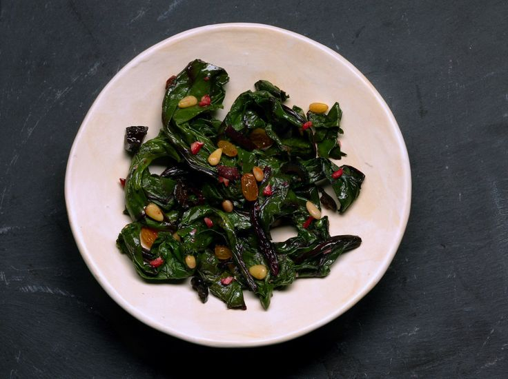Beet greens with golden raisins and pine nuts (Cime di rape con uve s ...
