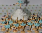 12 Ballerina Cupcake Toppers  with Sparkling Glitter On Tutu's Very Vintage looking  a Must See Hand Painted