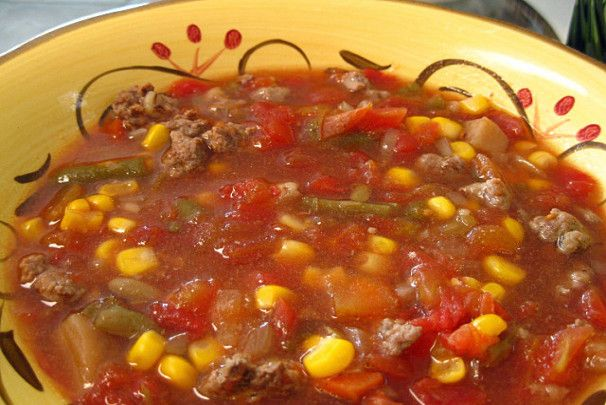 Hamburger Vegetable Soup - Crock Pot. Photo by WiGal