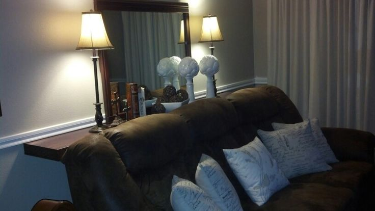 shelf behind couch brown couch home pinterest. Black Bedroom Furniture Sets. Home Design Ideas