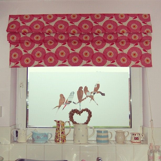 Such a pretty roman blind in a UK kitchen, made with my Flower Fields fabric, in Rosy.