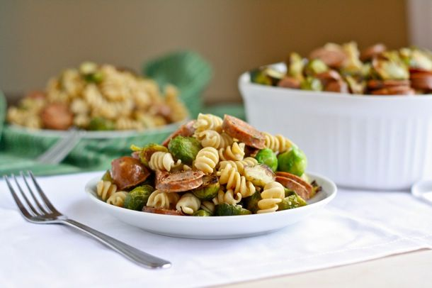 Roasted Brussel Sprout & Chicken Sausage Whole Wheat Pasta