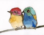 love birds watercolor