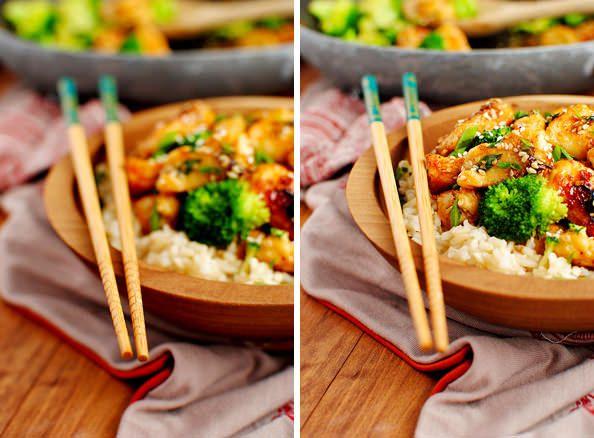 Lighter Sesame Chicken | Iowa Girl Eats | recipes | Pinterest