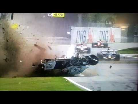 formula 1 crash into wall