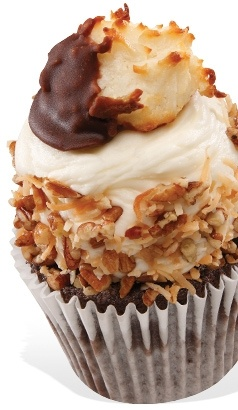 Coconut Macaroon Cupcake -  Devil's food cake with dark chocolate chips, coconut cream filling, topped with coconut cream cheese frosting and a coconut macaroon.
