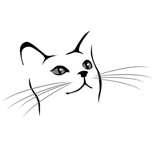 Simple Cat Face Drawing Sketch Coloring Page