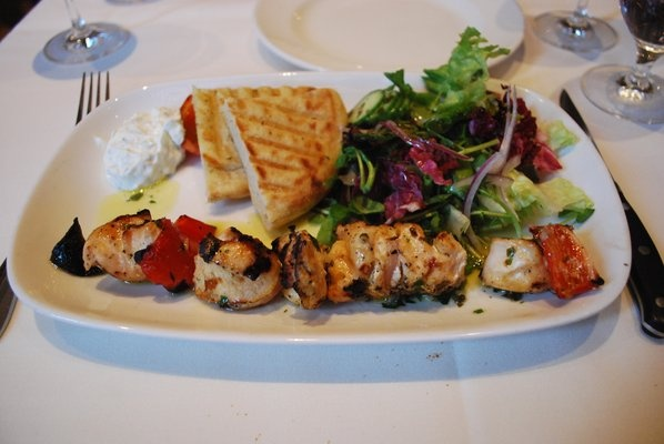 Chicken Souvlaki - yogurt marinated chicken skewer with peppers, onion ...