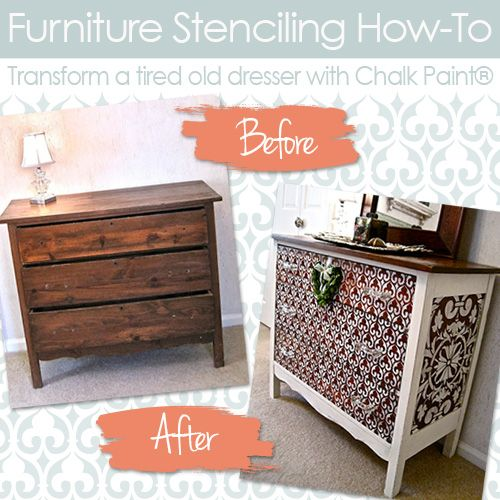 How To Stencil Wood Furniture With Chalk Paint Decorative Paint