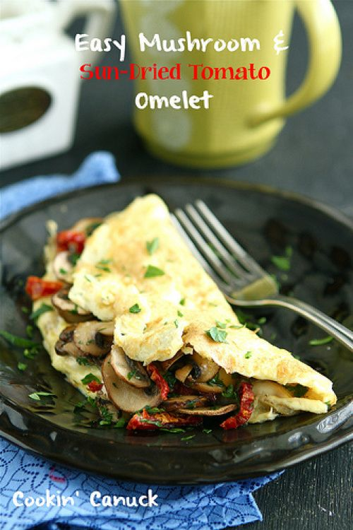easy mushroom amp sun dried tomato omelet recipe by cookin canuck