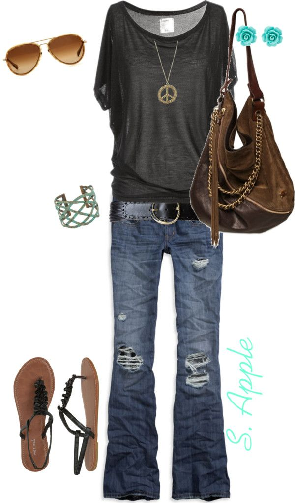 slouchy shirt, distressed jeans and a worn in brown leather bag... Saturday