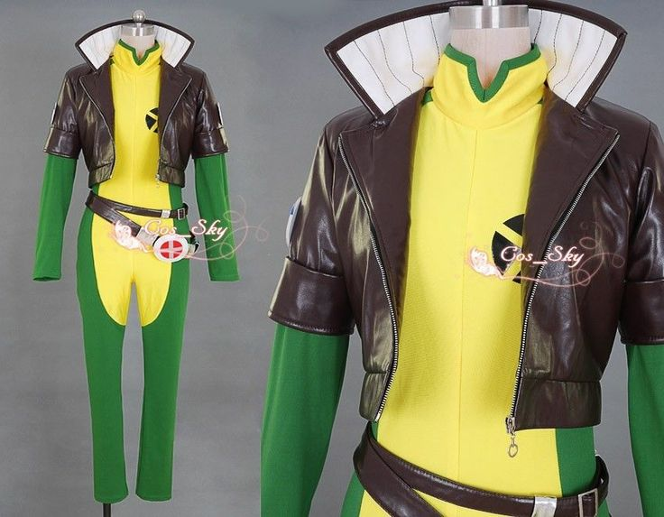 men Rogue /brown leather jacket Costume cosplay anime full set