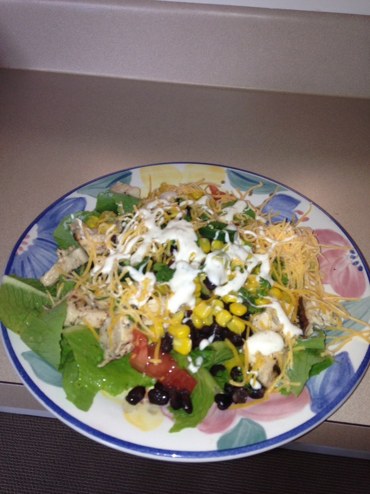 Grilled chicken southwest salad with homegrown romaine lettuce from my ...