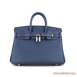 Navy blue leather bag - Hermes Birkin