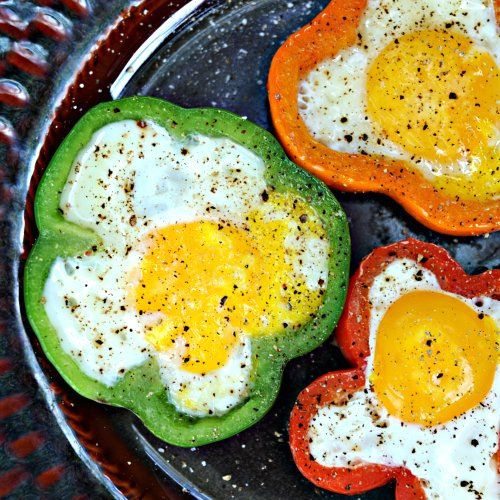 Bell Pepper and Eggs topped with cracked black pepper, hawaiian salt ...