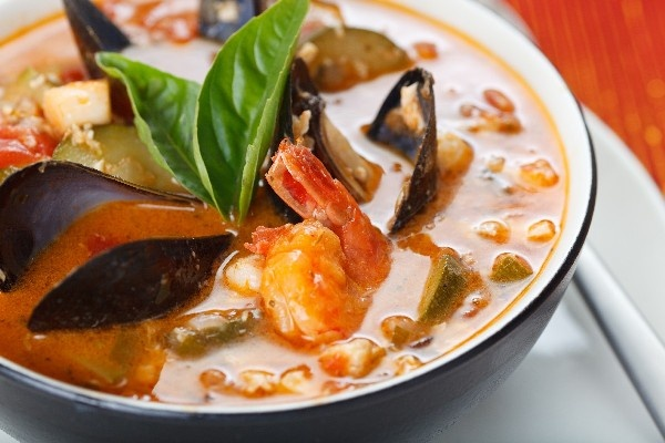 stew with shrimp, scallops, clams, mussels, crab & fish in a fragrant ...