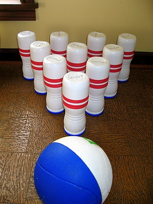 Gerber Graduate Puff containers turned Bowling Pins! Great kid activity.