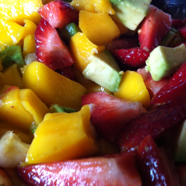 Luscious fruit salad: strawberries, mango, banana & avocado!!