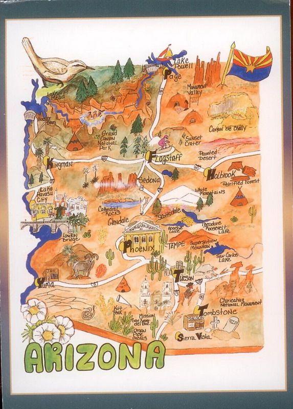 Arizona Map  Arizona  Pinterest