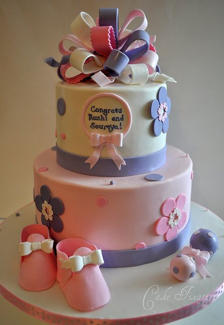 pink and purple baby shower by stephanie cake fixation via flickr