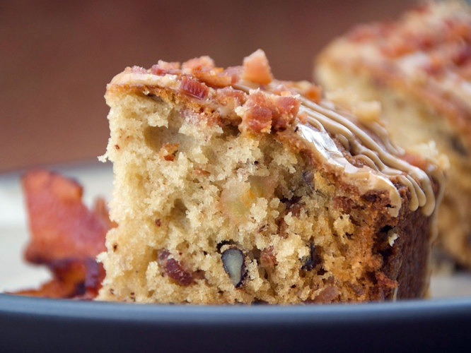 bacon the moist cake is punctuated with satisfying bits of crisp bacon ...