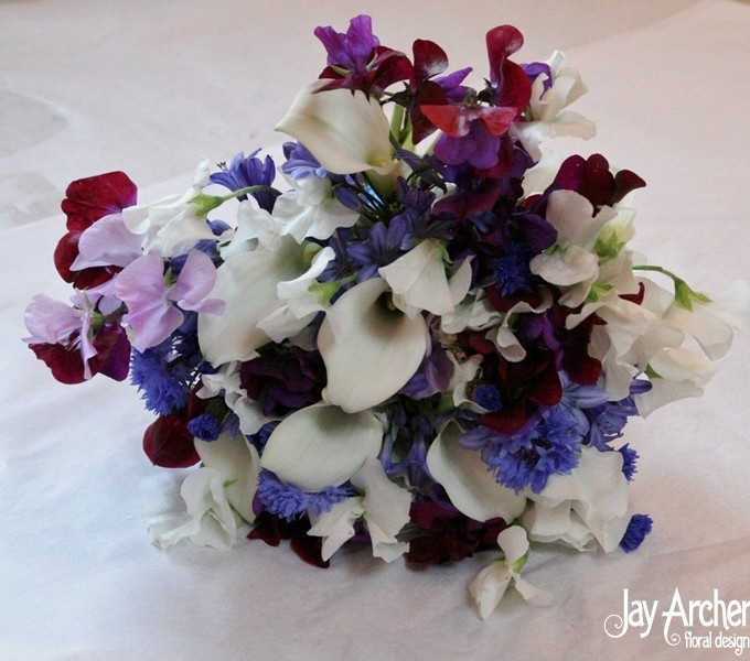 Purple Sweet Pea And Calla Lily Bouquet