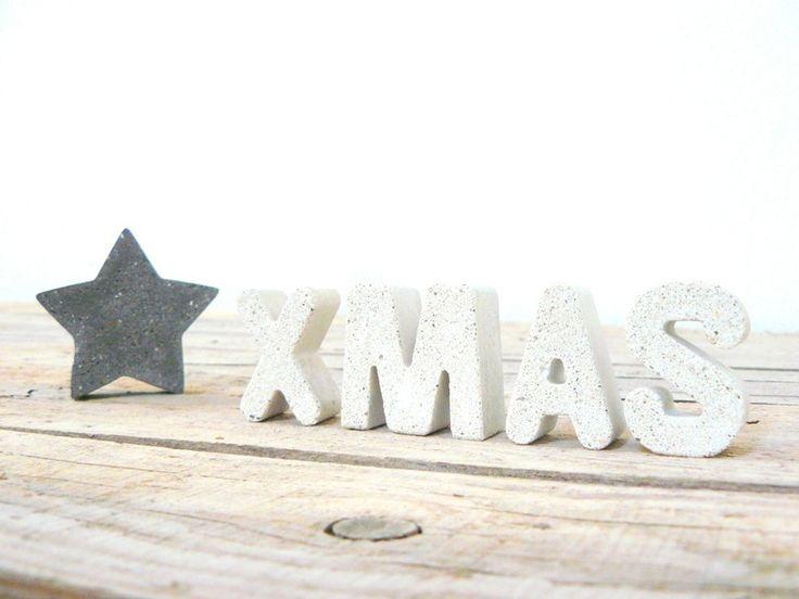 4 beton buchstaben xmas elfenbeinwei for Weihnachtsdeko buchstaben