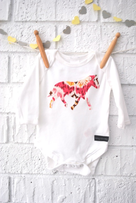 Horse Baby Girl Bodysuit by BubbyMakesThree on Etsy, $17.00