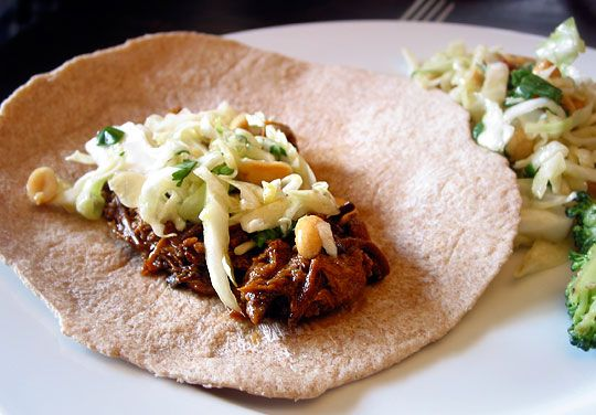 ... for a Crowd: Slow-Cooked Hoisin and Ginger Pork Wraps with Peanut Slaw