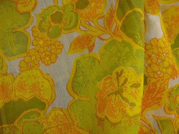 Semi Sheer Floral Fabric Yardage: Beautiful Yellows / Chartreuse -BTY