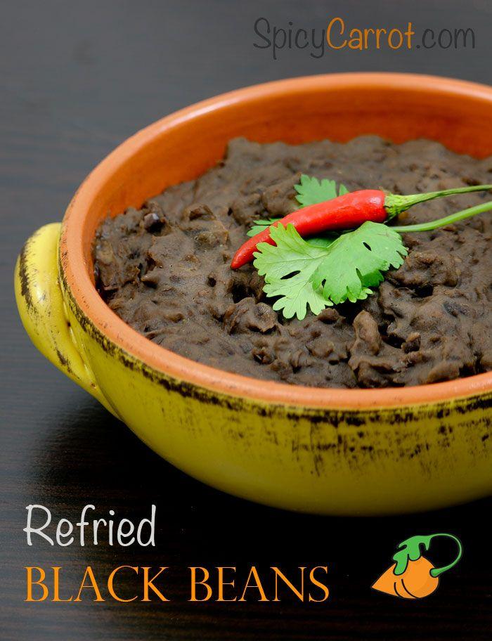Spicy Refried Black beans #gluten free #vegetarian