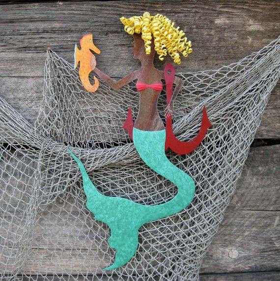 Mermaid Wall Art Roxanne Handmade Repurposed Metal