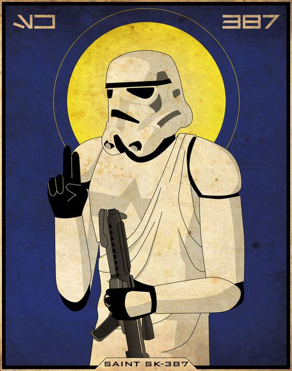 Imperial Saints: Saint SK-387, patron saint of stormtroopers by Patrick King. Martyred in service to the Galactic Empire while serving aboard the first Death Star.