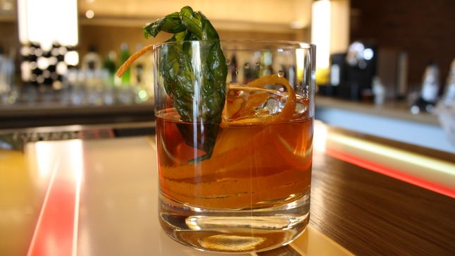 """Barrel-aged gin/green chartreuse/Luxardo concoction called """"The Last ..."""