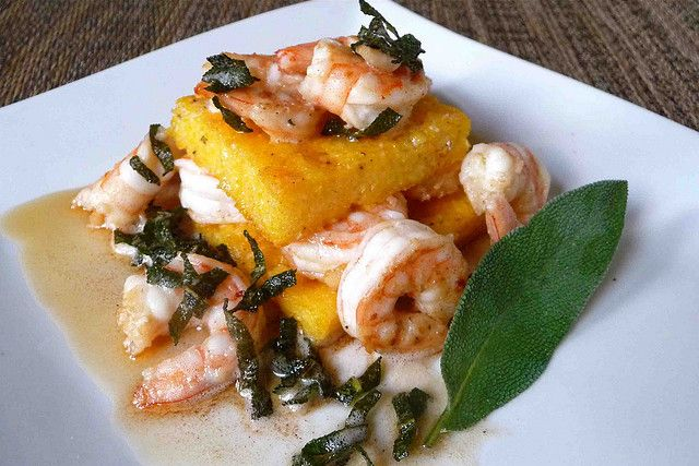 Garlic Shrimp & Parmesan Polenta Stacks with Brown Butter-Sage Sauce ...