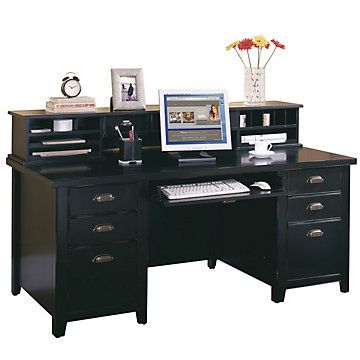 tribeca loft black executive desk with hutch martin furniture
