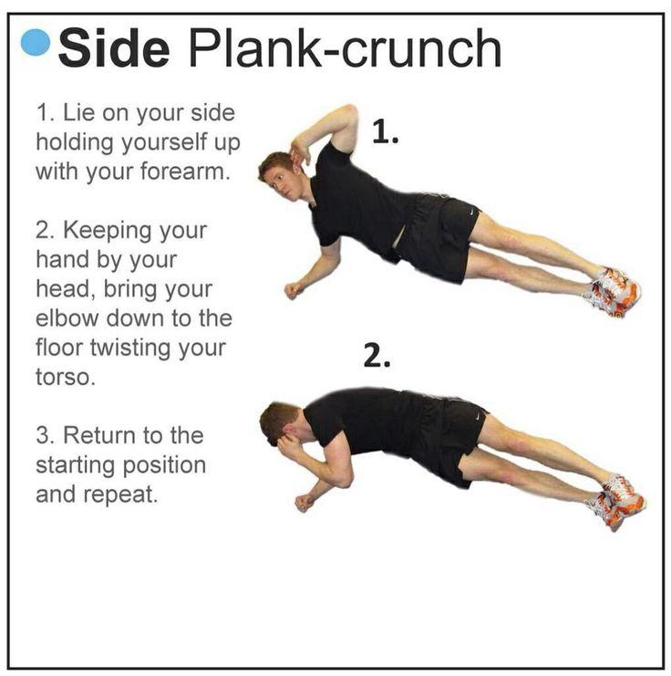 Side plank crunch | Fitness | Pinterest