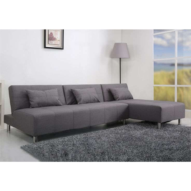 Atlanta light grey convertible sectional sofa bed for Light gray sofa bed