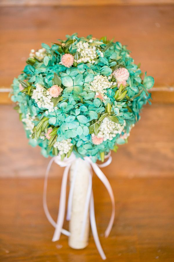 teal and peach hydrangea wedding bouquet fit ever so perfectly into this 1950's wedding. See more  http://www.weddingchicks.com/2013/04/30/1950s-vintage-inspired-wedding/
