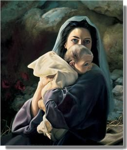 I LOVE this picture of Mary with Baby Jesus.  It really shows Mary as a REAL mom and Jesus as a REAL baby!  He's nibbling on her shoulder and she's huddling close to His little face.  BEAUTIFUL that God made Jesus in such a perfect authentic way as a child.