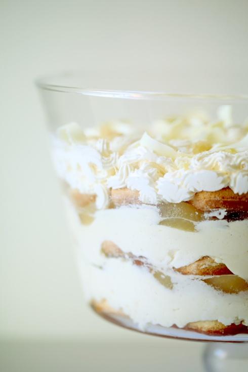 White Chocolate Tiramisu trifle with spiced pears