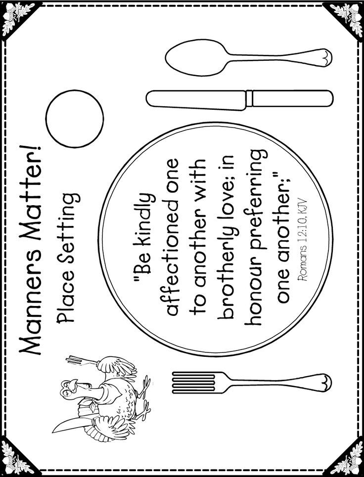 table setting coloring pages - photo #9