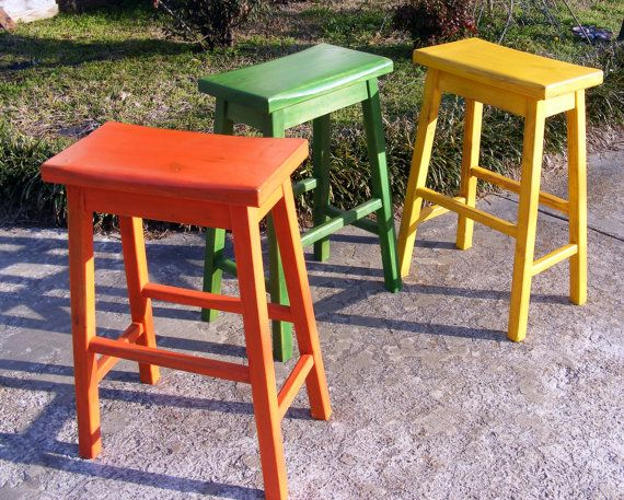 Saddle stools set of handcrafted solid wood distressed