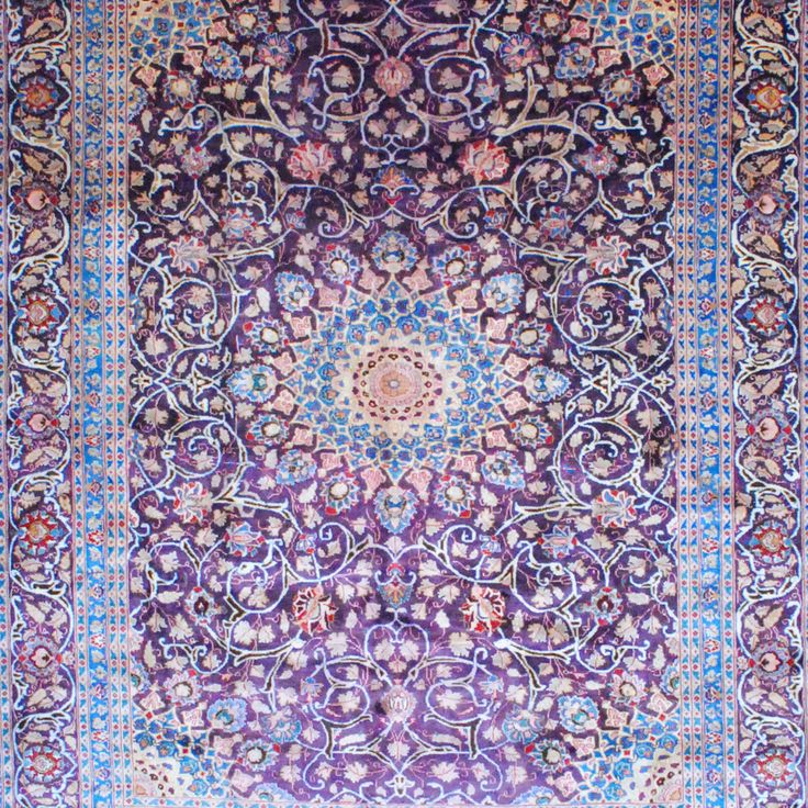 Persian Hand Knotted Mashad Purple Ivory Wool Rug 9 10 X