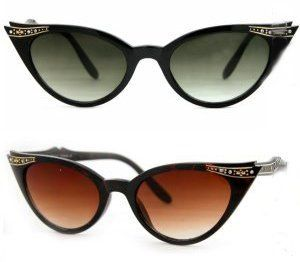 Cat Eye Jackie O Rhinestone 60's Sunglasses Cateye