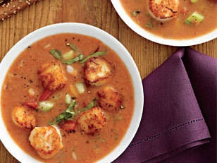 Creamy Gazpacho with Peppered Scallops - Restaurant-quality scallops ...
