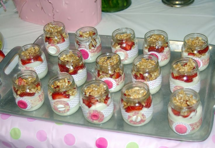 Baby food jars for mini parfaits at a baby shower