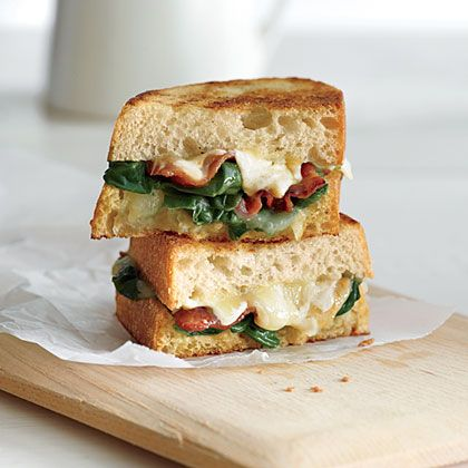 garlicky grilled cheese} a perfect combo of arugula, spinach, bacon ...